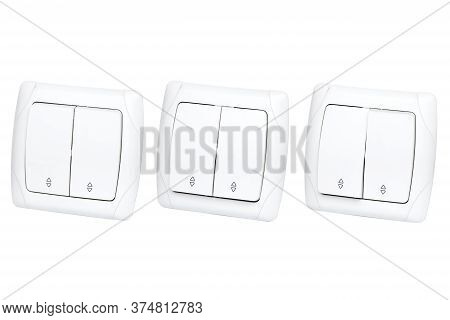 Double Light Switch Side View Isolated On A White Background, Set Electric Switch With Buttons In On