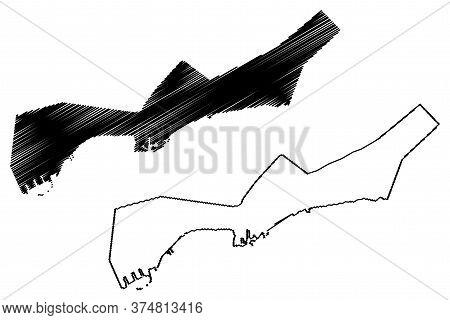 Bandar Abbas City (islamic Republic Of Iran, Persia, Hormozgan Province) Map Vector Illustration, Sc