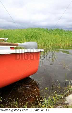 View Of Boat On Estuary Of Lake Seliger