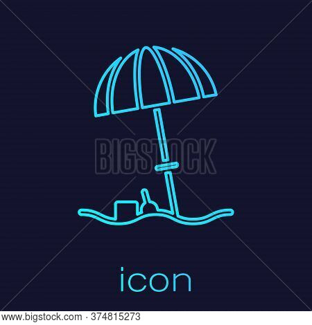 Turquoise Line Sun Protective Umbrella For Beach Icon Isolated On Blue Background. Large Parasol For