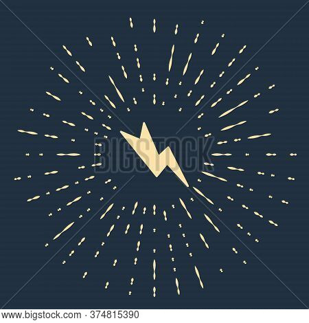Beige Lightning Bolt Icon Isolated On Blue Background. Flash Sign. Charge Flash Icon. Thunder Bolt.