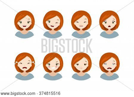 Womans Emotions - Collection Of A Different Emotions, Happy, Sad, Angry, Scared, Crying, Tired, Chee