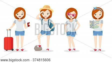 Girl In Vacation - Young Woman On Holidays, Different Types, In Airport With Trolley, Mountain Vacat
