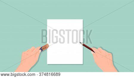 Hand Holds Pencil An Eraser. Writing Erasing