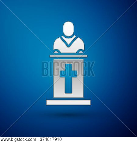Silver Church Pastor Preaching Icon Isolated On Blue Background. Vector Illustration