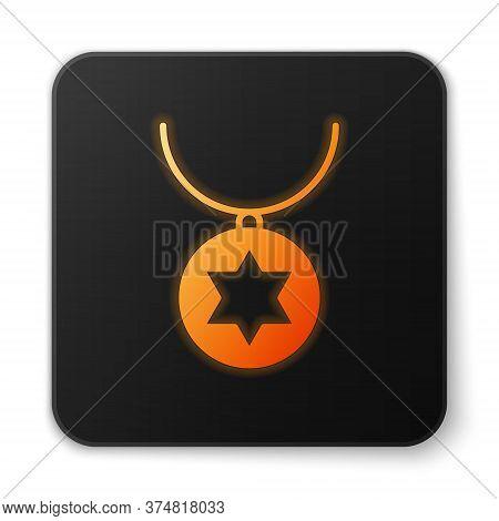 Orange Glowing Neon Star Of David Necklace On Chain Icon Isolated On White Background. Jewish Religi