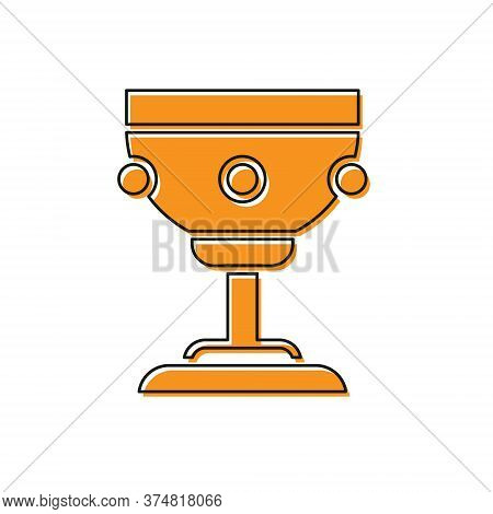 Orange Christian Chalice Icon Isolated On White Background. Christianity Icon. Happy Easter. Vector