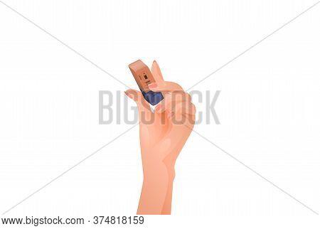 Female Hand Holds An Eraser. Information Erasing
