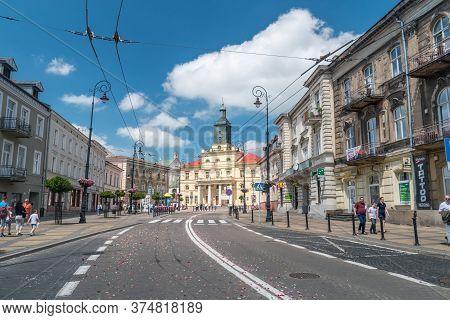 Lublin, Poland - June 11, 2020: Krolewska Street After Catholic Procession On Feast Of Corpus Christ