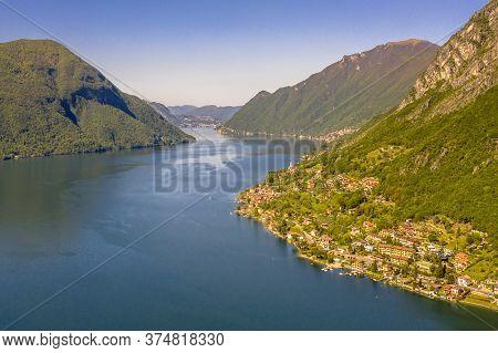 Aerial View Of Lake Lugano Seen From Porlezza, Cima, Lombardia, Italy