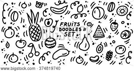 Fruits Doodles Icon Set. Collection Of Sketches Of Fruits And Berries. Hand Drawn Lines Cartoon Icon