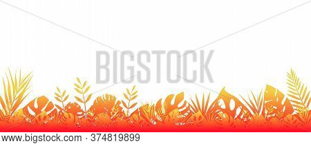 Fern Background Red Fluorescent. Horizontal Decoration Of