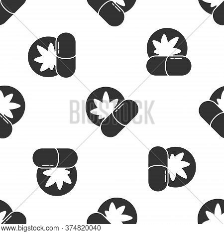 Grey Herbal Ecstasy Tablets Icon Isolated Seamless Pattern On White Background. Vector Illustration