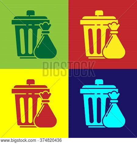 Pop Art Trash Can And Garbage Bag Icon Isolated On Color Background. Garbage Bin Sign. Recycle Baske
