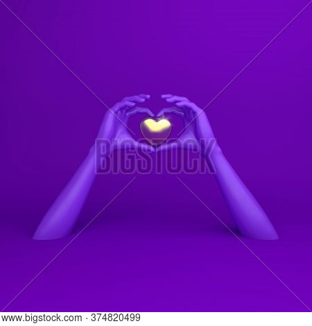 Happy Valentines Day, Violet Hands In Shape Of Heart, Valentines Day Background, Red Gold Window Fra
