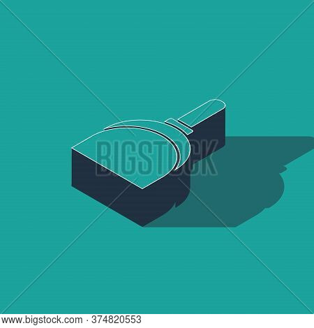 Isometric Dustpan Icon Isolated On Green Background. Cleaning Scoop Services. Vector Illustration
