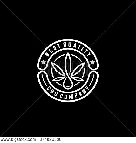 Elegant Vintage Retro Badge Label Emblem Logo Design Inspiration,  Marijuana Cannabis Hemp Pot Leaf
