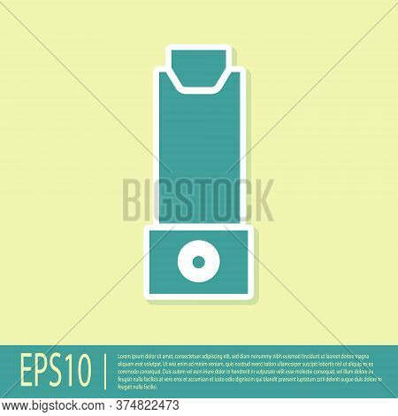 Green Inhaler Icon Isolated On Yellow Background. Breather For Cough Relief, Inhalation, Allergic Pa