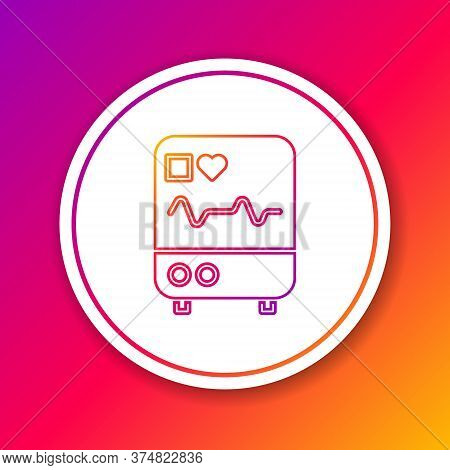 Color Line Computer Monitor With Cardiogram Icon Isolated On Color Background. Monitoring Icon. Ecg