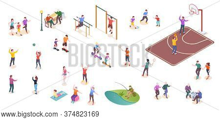 People In Park, Sport Activity, Leisure Games, Isometric Isolated Set. Kids Playing Football, Tennis