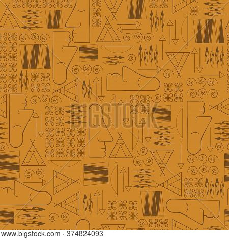 Tribal Ethnic Seamless Pattern. Figuratively Geometric Pictures