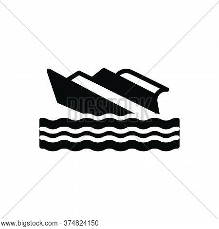 Black Solid Icon For Shipwreck Capsized Stormy Waves Crashing  Transport Rafting