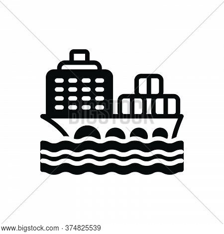 Black Solid Icon For Cargo-ship Cargo Ship Container Transport Ocean