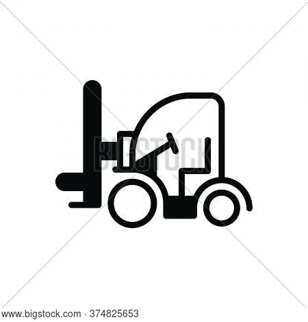 Black Solid Icon For Forklift Cargo Truck Transportation Construction Machinery Shipping Vehicle