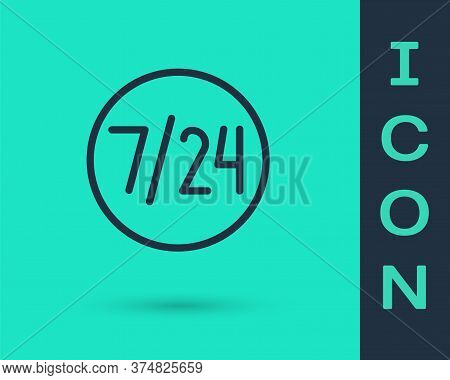 Black Line Clock 24 Hours Icon Isolated On Green Background. All Day Cyclic Icon. 24 Hours Service S