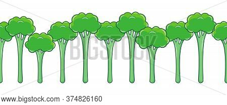 Seamless Pattern Border Broccolini Or Chinese Baby Broccoli On White Background. Asian Vegetable Bro