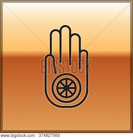Black Line Symbol Of Jainism Or Jain Dharma Icon Isolated On Gold Background. Religious Sign. Symbol