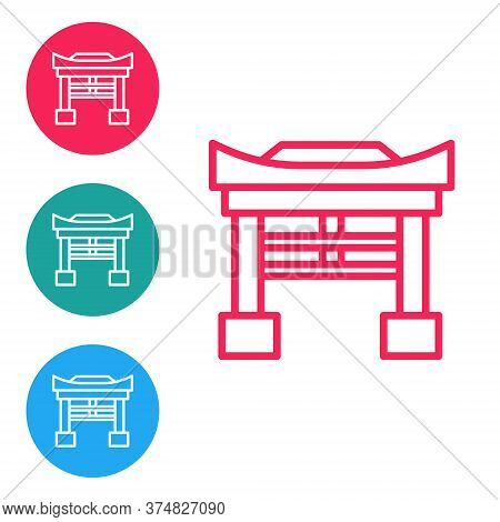 Red Line Japan Gate Icon Isolated On White Background. Torii Gate Sign. Japanese Traditional Classic