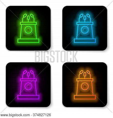 Glowing Neon Line Stage Stand Or Debate Podium Rostrum Icon Isolated On White Background. Conference