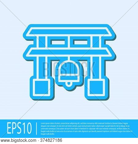 Blue Line Japan Gate Icon Isolated On Grey Background. Torii Gate Sign. Japanese Traditional Classic