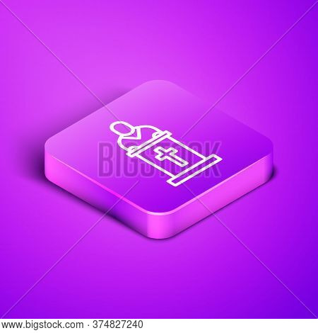 Isometric Line Church Pastor Preaching Icon Isolated On Purple Background. Purple Square Button. Vec