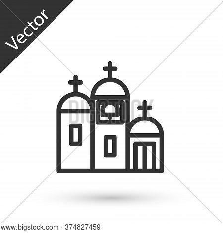 Grey Line Church Building Icon Isolated On White Background. Christian Church. Religion Of Church. V