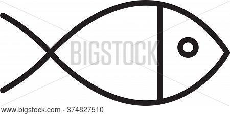 Black Line Christian Fish Symbol Icon Isolated On White Background. Jesus Fish Symbol. Vector Illust
