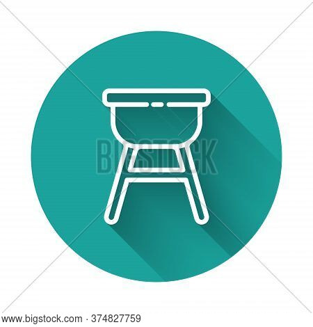 White Line Barbecue Grill Icon Isolated With Long Shadow. Bbq Grill Party. Green Circle Button. Vect