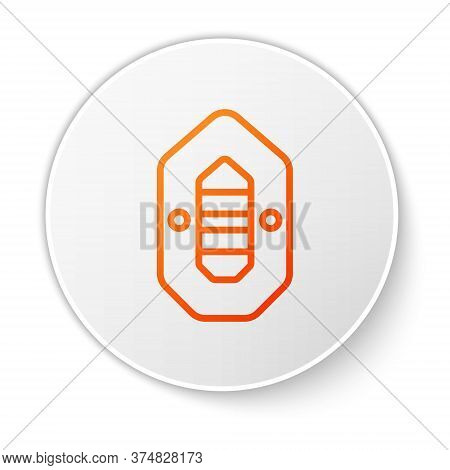 Orange Line Rafting Boat Icon Isolated On White Background. Inflatable Boat. Water Sports, Extreme S