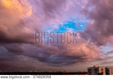 Dusk,sunset Sky Twilight In The Evening With Colorful Sunlight And Dark Blue,majestic Pink Sky Backg