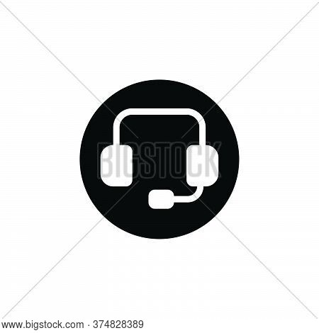 Black Solid Icon For Support Customer Call Consultant Headphone Helpline Telemarketing