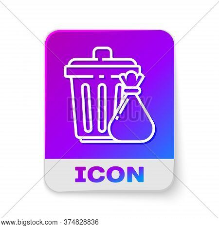 White Line Trash Can And Garbage Bag Icon Isolated On White Background. Garbage Bin Sign. Recycle Ba