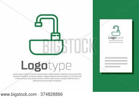 Green Line Washbasin With Water Tap Icon Isolated On White Background. Logo Design Template Element.