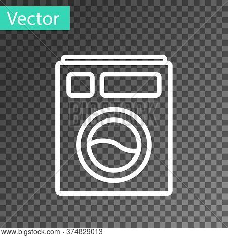 White Line Washer Icon Isolated On Transparent Background. Washing Machine Icon. Clothes Washer - La