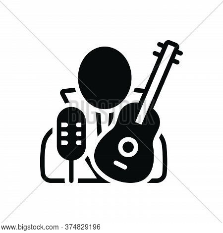 Black Solid Icon For Necrophagist Musician Composer Melodist Singer Instrument Playing