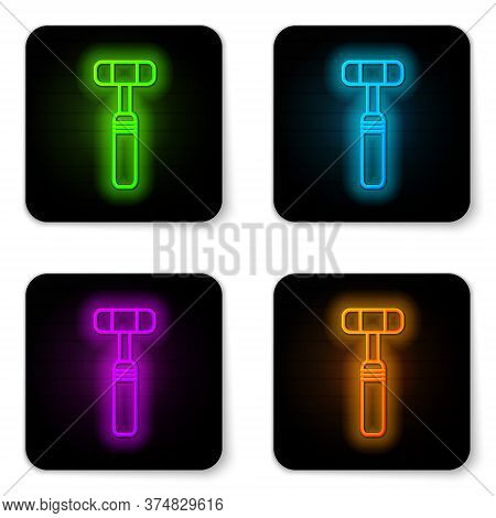 Glowing Neon Line Neurology Reflex Hammer Icon Isolated On White Background. Black Square Button. Ve