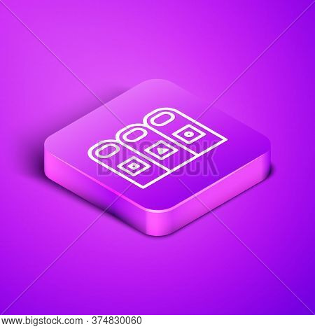 Isometric Line Trash In Garbage Cans With Sorted Garbage Icon Isolated On Purple Background. Recycle