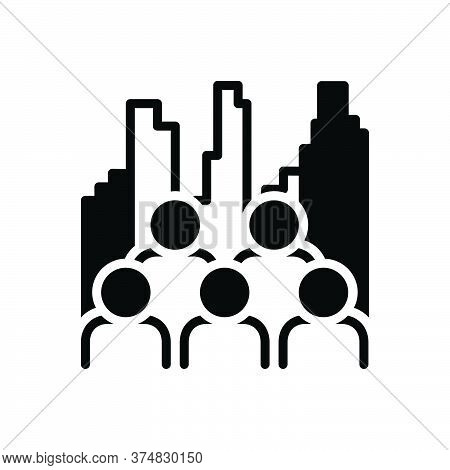 Black Solid Icon For Multiplicity Multitude Multiracial People Population City