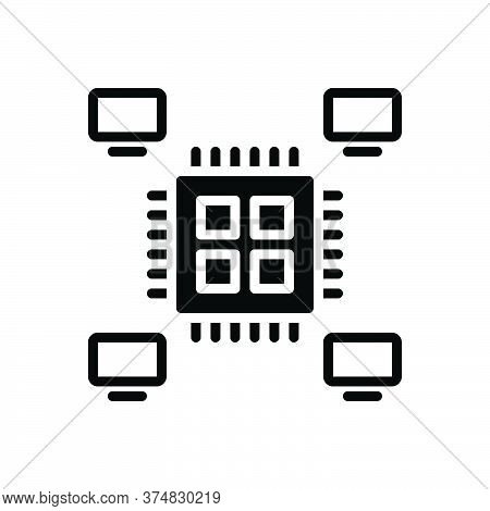 Black Solid Icon For Multiprocessing Multitasking Performance Planning Concept Applications Technolo