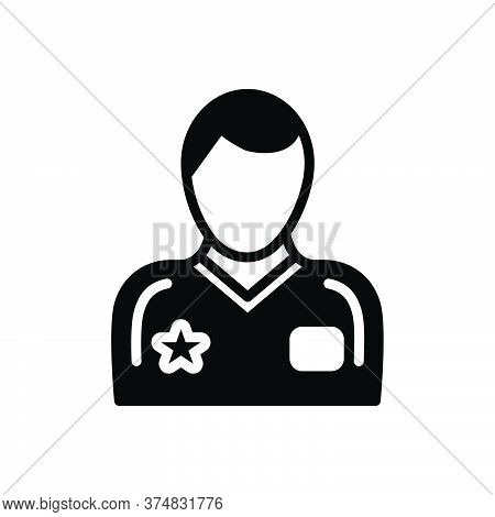 Black Solid Icon For Player Sportsman Champions Competition Participant Competitor